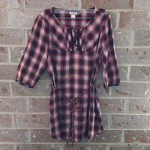 Mossimo Plaid Belted Tunic